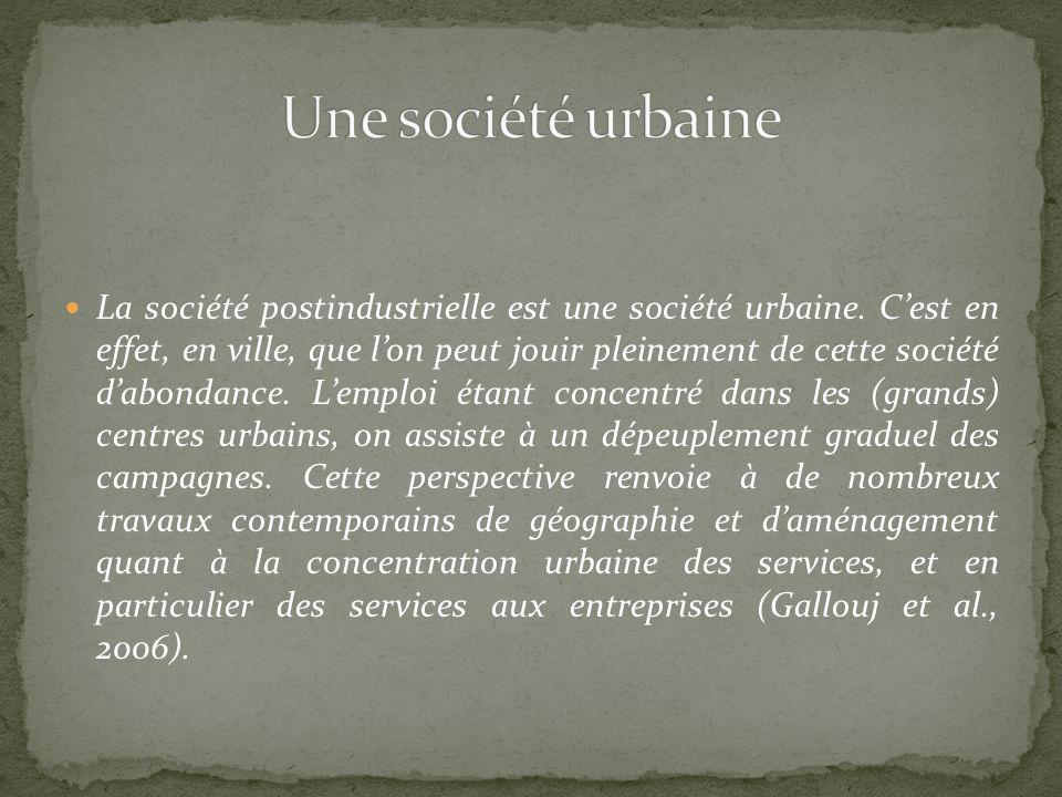 La société postindustrielle est une société urbaine. Cest en effet, en ville, que lon peut jouir pleinement de cette société dabondance. Lemploi étant