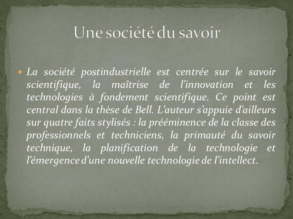 La société postindustrielle est centrée sur le savoir scientifique, la maîtrise de linnovation et les technologies à fondement scientifique. Ce point