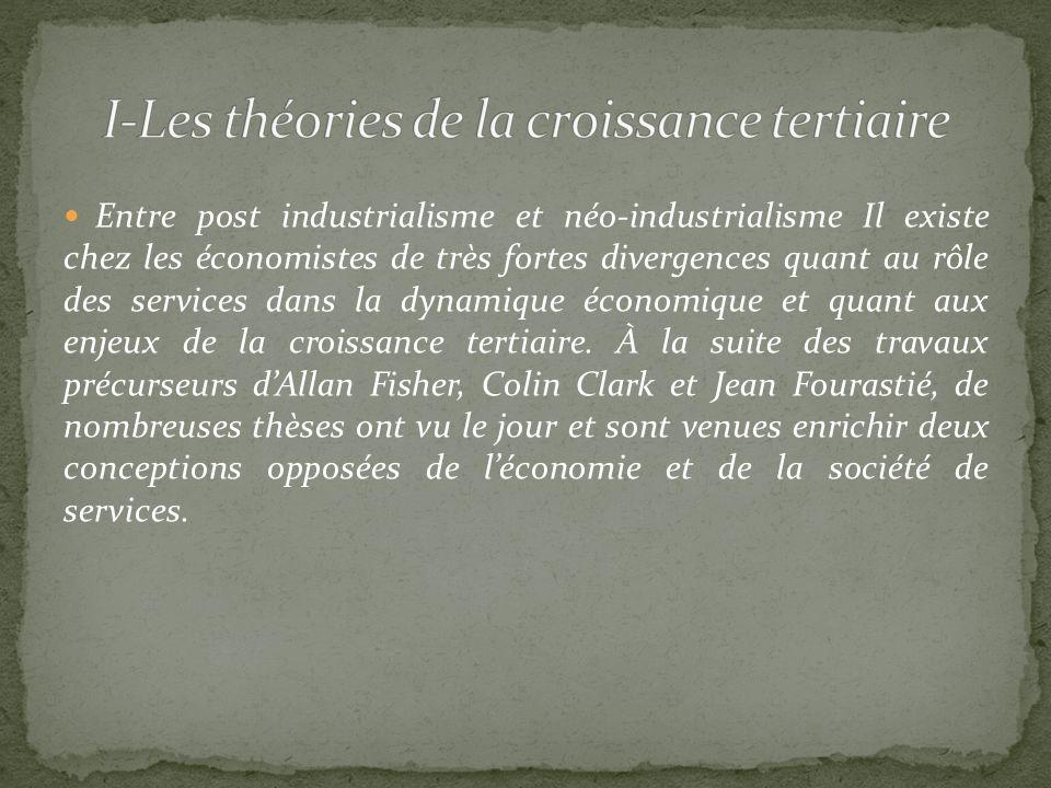 Entre post industrialisme et néo-industrialisme Il existe chez les économistes de très fortes divergences quant au rôle des services dans la dynamique