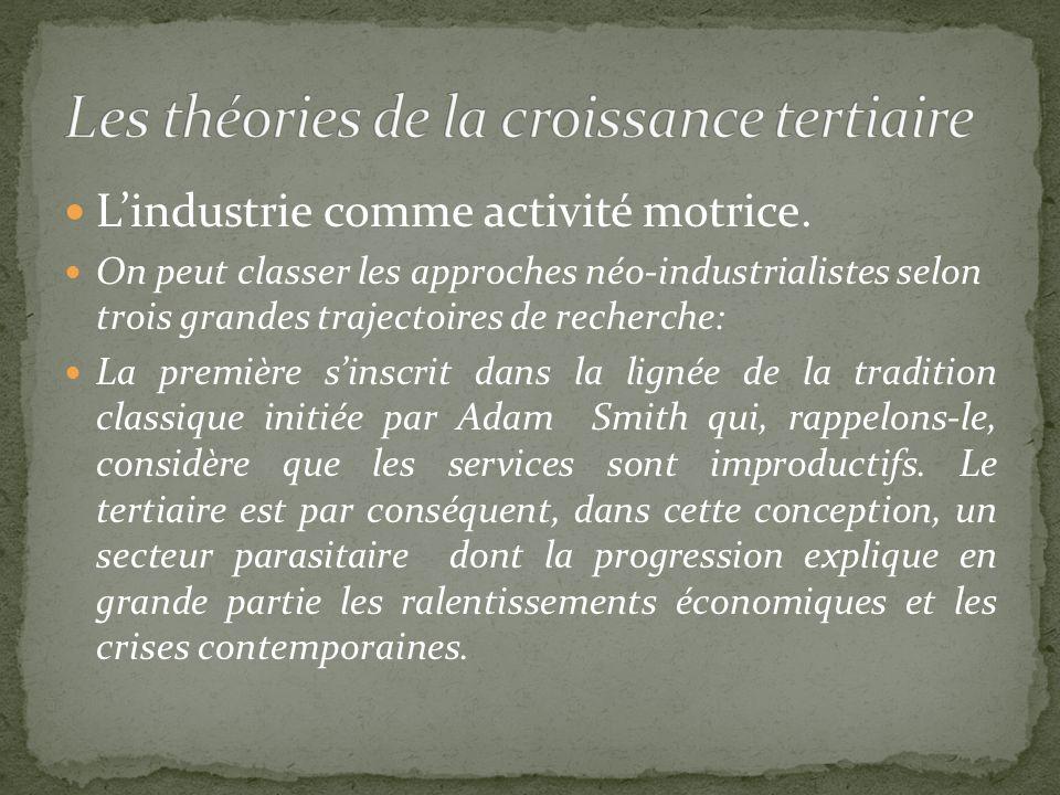 Lindustrie comme activité motrice. On peut classer les approches néo-industrialistes selon trois grandes trajectoires de recherche: La première sinscr