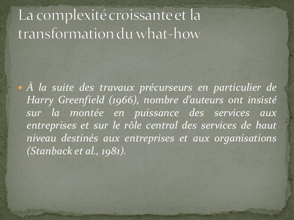 À la suite des travaux précurseurs en particulier de Harry Greenfield (1966), nombre dauteurs ont insisté sur la montée en puissance des services aux