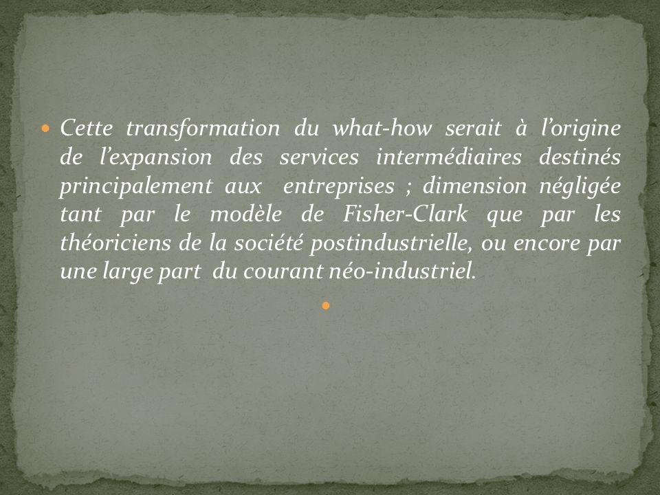 Cette transformation du what-how serait à lorigine de lexpansion des services intermédiaires destinés principalement aux entreprises ; dimension négli