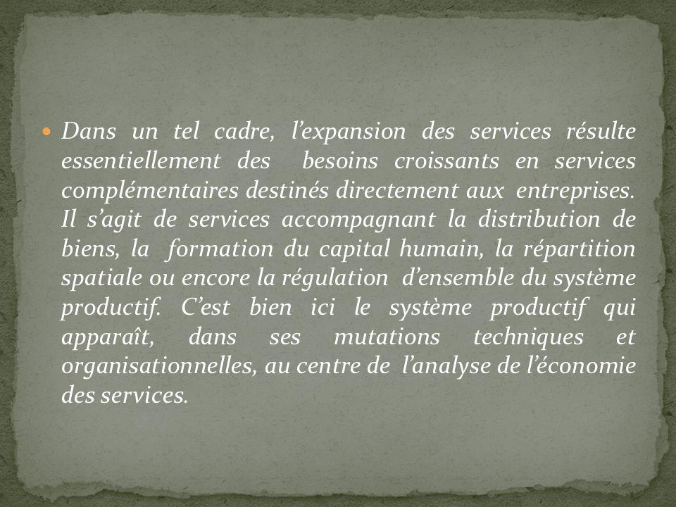 Dans un tel cadre, lexpansion des services résulte essentiellement des besoins croissants en services complémentaires destinés directement aux entrepr
