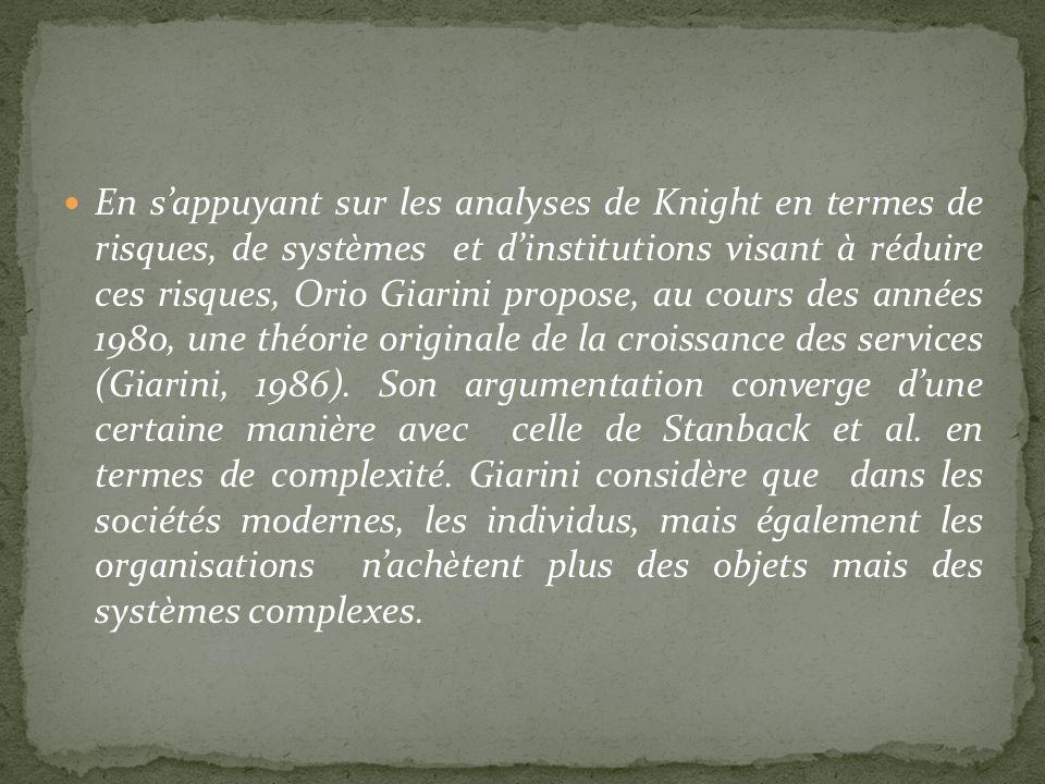 En sappuyant sur les analyses de Knight en termes de risques, de systèmes et dinstitutions visant à réduire ces risques, Orio Giarini propose, au cour