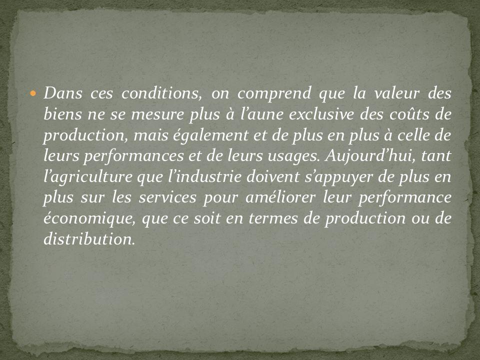 Dans ces conditions, on comprend que la valeur des biens ne se mesure plus à laune exclusive des coûts de production, mais également et de plus en plu