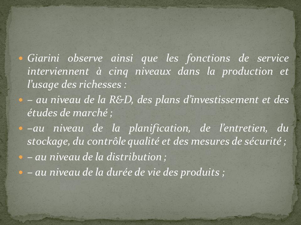 Giarini observe ainsi que les fonctions de service interviennent à cinq niveaux dans la production et lusage des richesses : – au niveau de la R&D, de