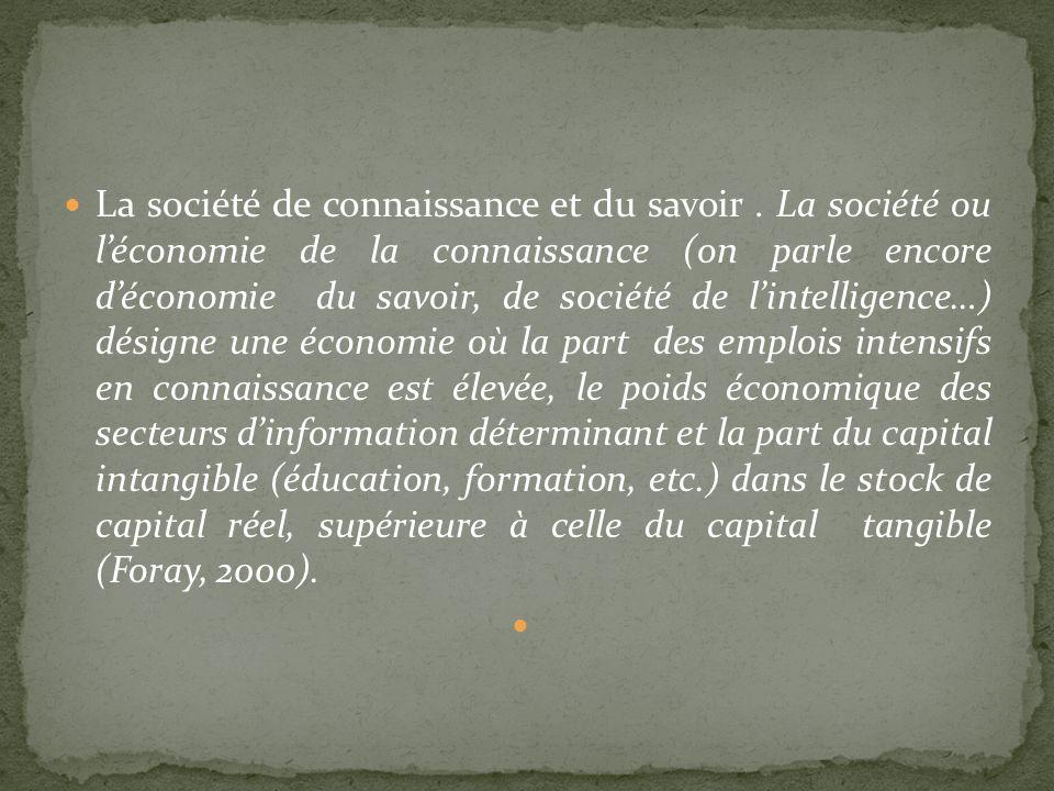 La société de connaissance et du savoir. La société ou léconomie de la connaissance (on parle encore déconomie du savoir, de société de lintelligence…