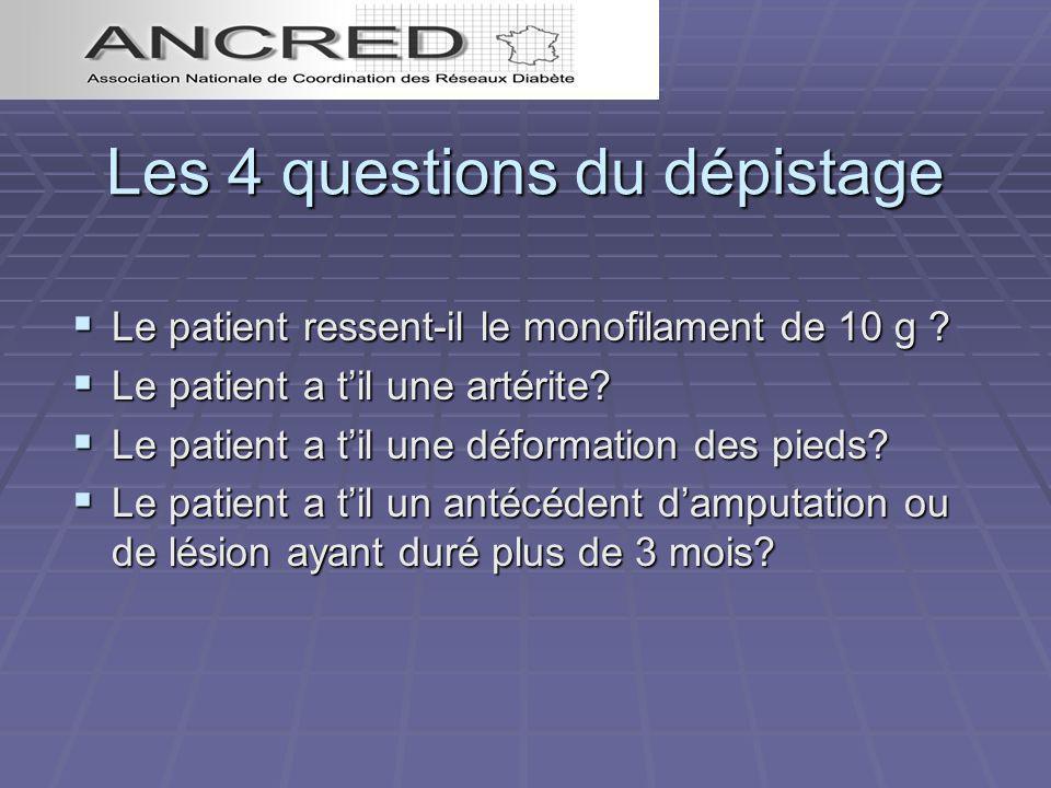 Les 4 questions du dépistage Le patient ressent-il le monofilament de 10 g ? Le patient ressent-il le monofilament de 10 g ? Le patient a til une arté