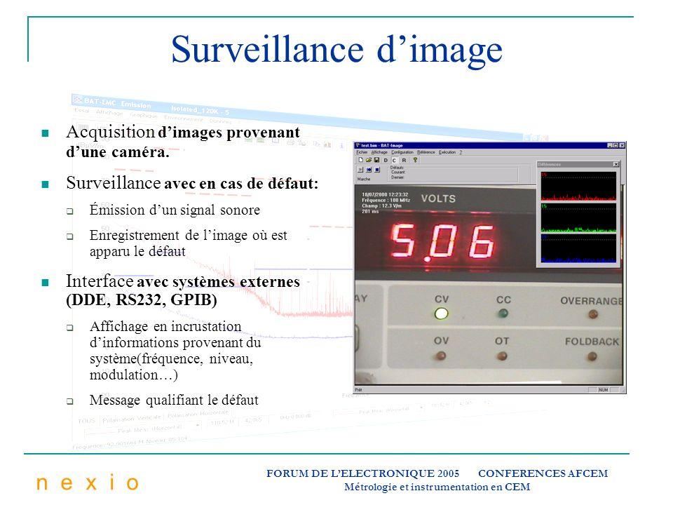n e x i o FORUM DE LELECTRONIQUE 2005 CONFERENCES AFCEM Métrologie et instrumentation en CEM Surveillance dimage Acquisition dimages provenant dune ca