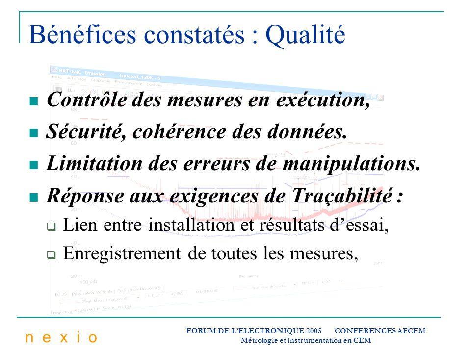 n e x i o FORUM DE LELECTRONIQUE 2005 CONFERENCES AFCEM Métrologie et instrumentation en CEM Bénéfices constatés : Qualité Contrôle des mesures en exé
