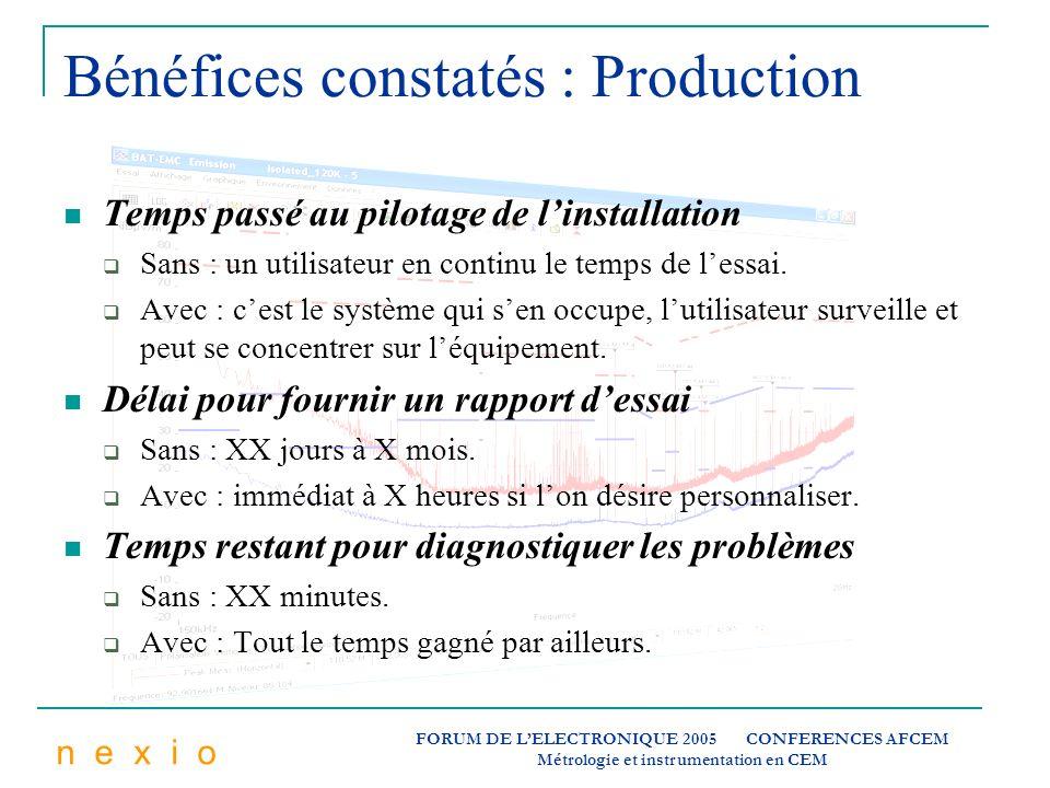 n e x i o FORUM DE LELECTRONIQUE 2005 CONFERENCES AFCEM Métrologie et instrumentation en CEM Bénéfices constatés : Production Temps passé au pilotage