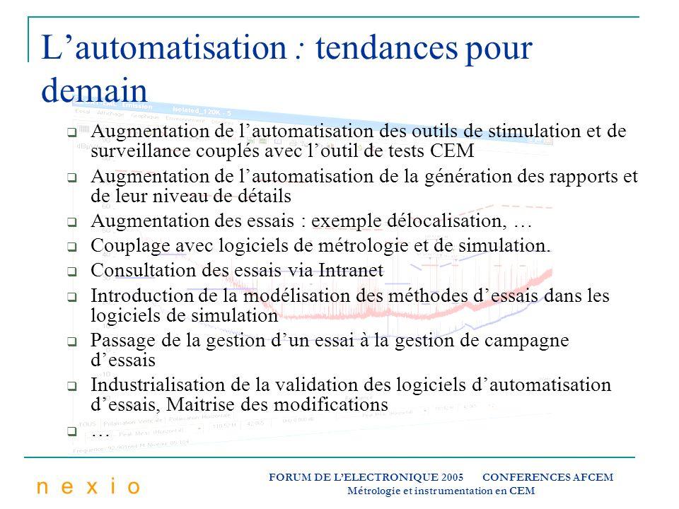 n e x i o FORUM DE LELECTRONIQUE 2005 CONFERENCES AFCEM Métrologie et instrumentation en CEM Lautomatisation : tendances pour demain Augmentation de l
