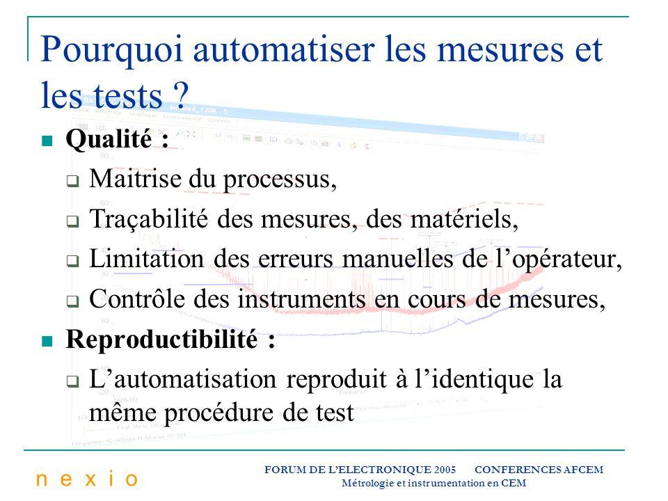 n e x i o FORUM DE LELECTRONIQUE 2005 CONFERENCES AFCEM Métrologie et instrumentation en CEM Pourquoi automatiser les mesures et les tests ? Qualité :