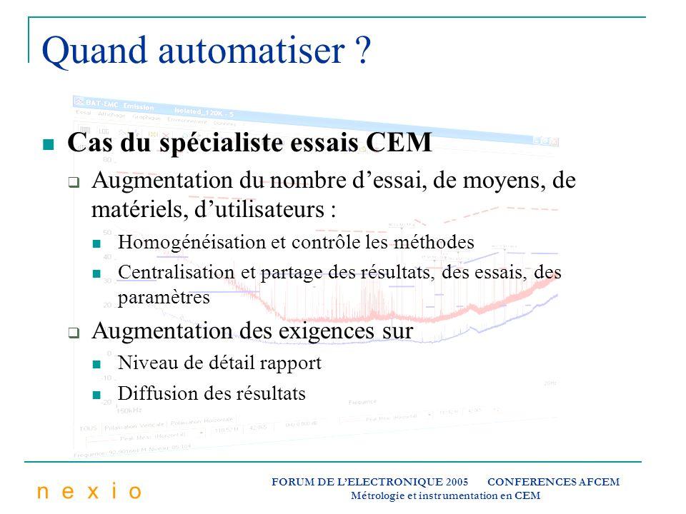 n e x i o FORUM DE LELECTRONIQUE 2005 CONFERENCES AFCEM Métrologie et instrumentation en CEM Quand automatiser ? Cas du spécialiste essais CEM Augment