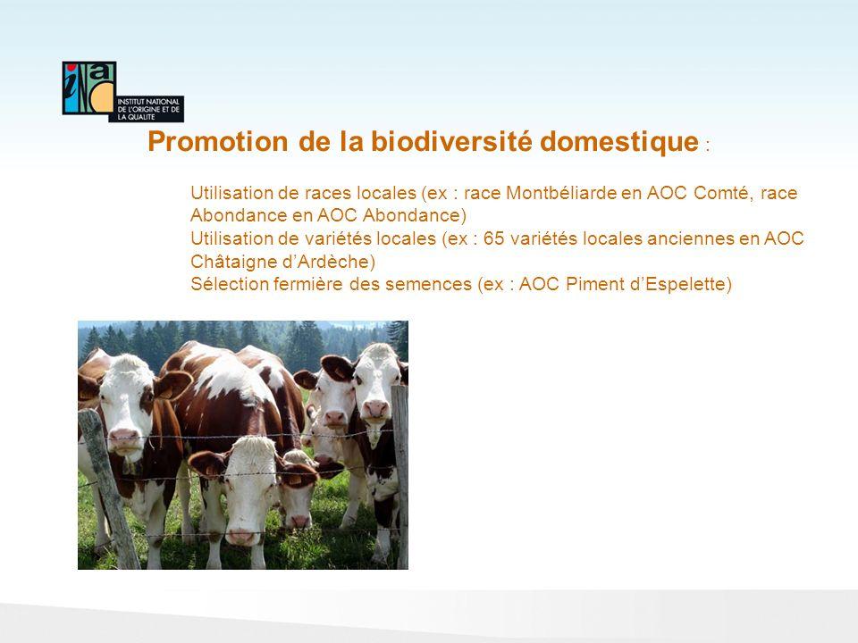 Promotion de la biodiversité domestique : Utilisation de races locales (ex : race Montbéliarde en AOC Comté, race Abondance en AOC Abondance) Utilisat