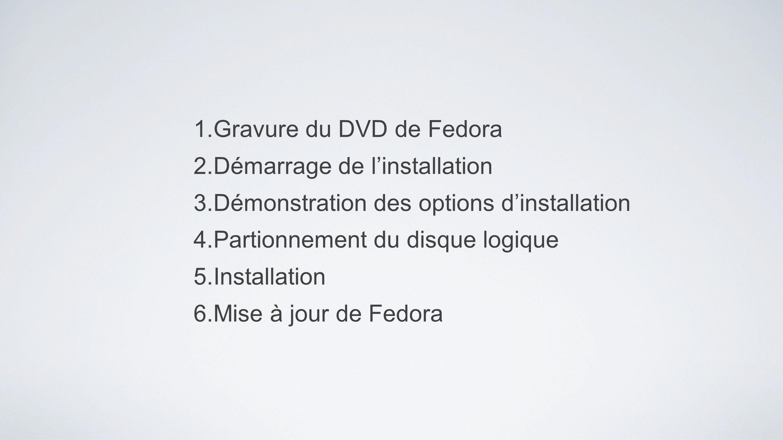 1.Gravure du DVD de Fedora 2.Démarrage de linstallation 3.Démonstration des options dinstallation 4.Partionnement du disque logique 5.Installation 6.M