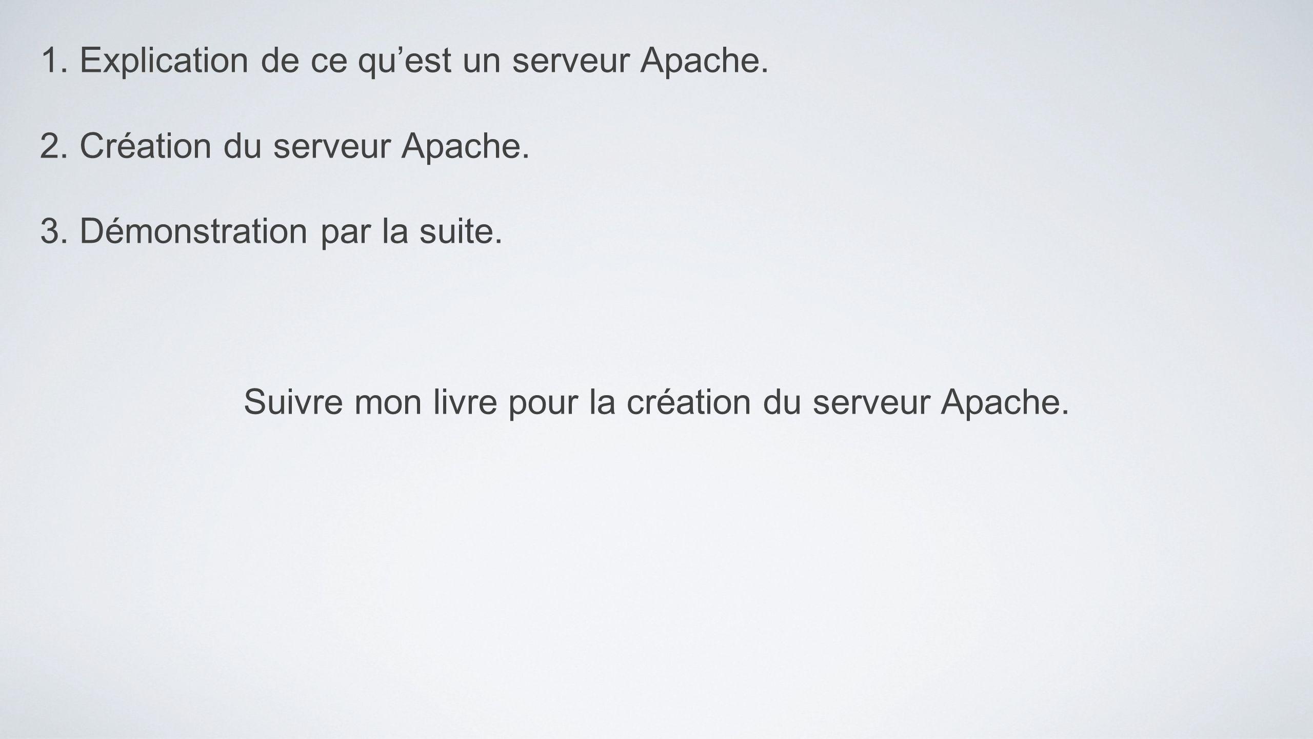1. Explication de ce quest un serveur Apache. 2. Création du serveur Apache. 3. Démonstration par la suite. Suivre mon livre pour la création du serve