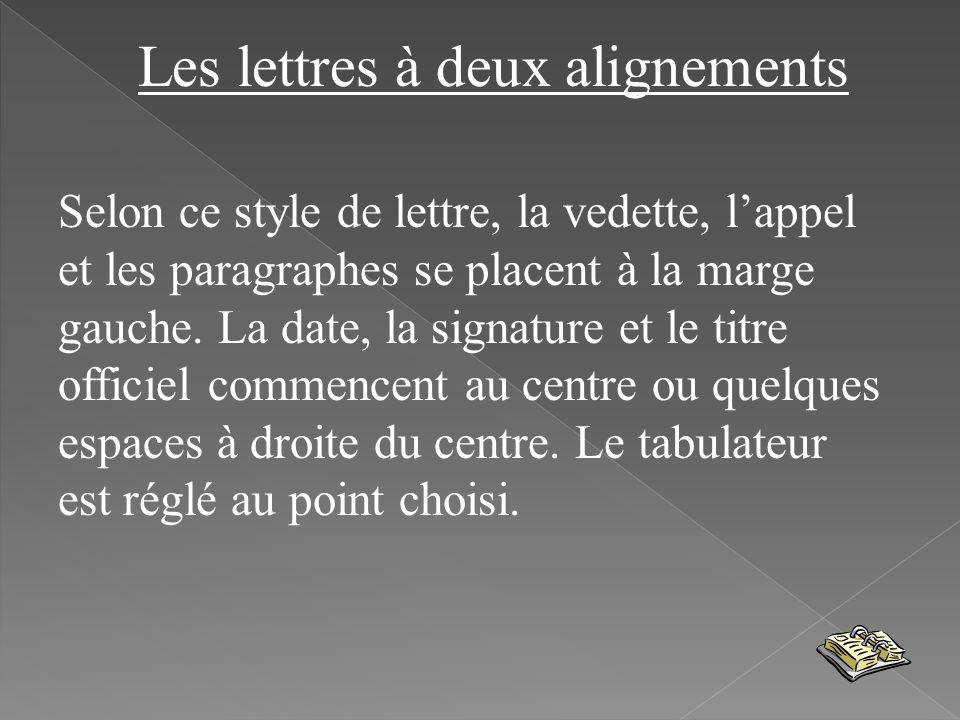 Les lettres à deux alignements Selon ce style de lettre, la vedette, lappel et les paragraphes se placent à la marge gauche. La date, la signature et