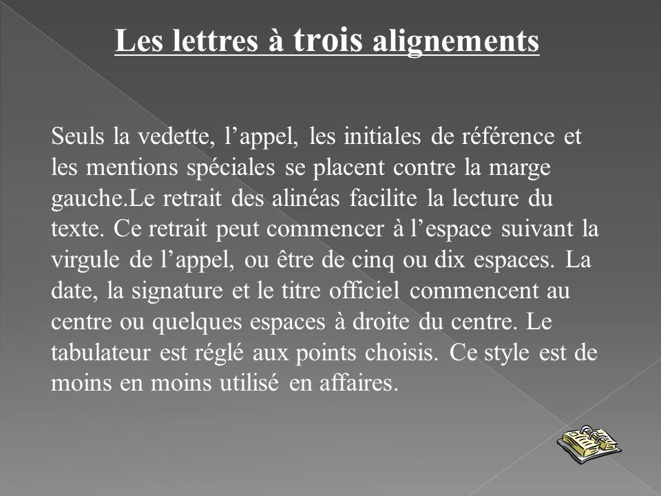 Les lettres à trois alignements Seuls la vedette, lappel, les initiales de référence et les mentions spéciales se placent contre la marge gauche.Le re