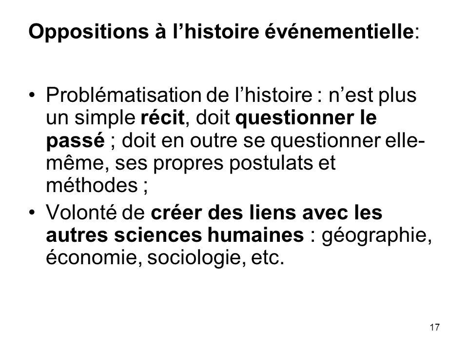 17 Oppositions à lhistoire événementielle: Problématisation de lhistoire : nest plus un simple récit, doit questionner le passé ; doit en outre se que