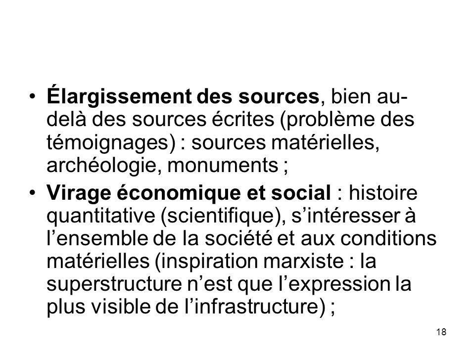 Élargissement des sources, bien au- delà des sources écrites (problème des témoignages) : sources matérielles, archéologie, monuments ; Virage économi