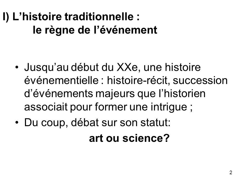 2 I) Lhistoire traditionnelle : le règne de lévénement Jusquau début du XXe, une histoire événementielle : histoire-récit, succession dévénements maje