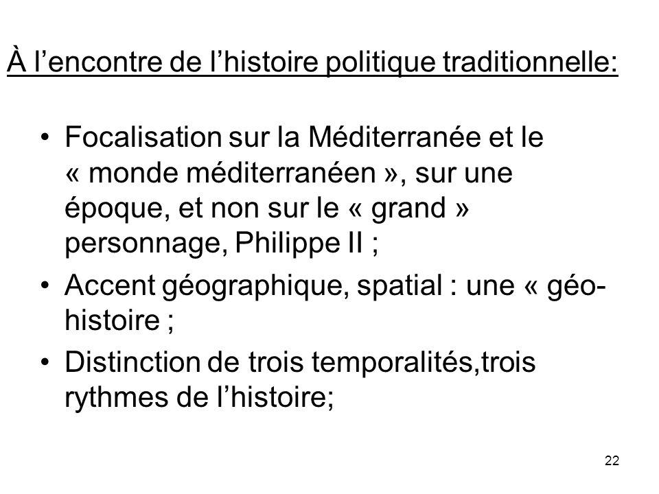 22 À lencontre de lhistoire politique traditionnelle: Focalisation sur la Méditerranée et le « monde méditerranéen », sur une époque, et non sur le «