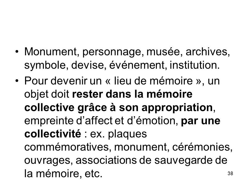38 Monument, personnage, musée, archives, symbole, devise, événement, institution. Pour devenir un « lieu de mémoire », un objet doit rester dans la m