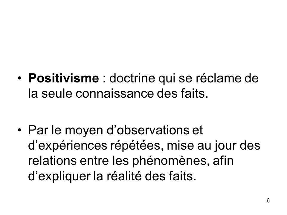 6 Positivisme : doctrine qui se réclame de la seule connaissance des faits. Par le moyen dobservations et dexpériences répétées, mise au jour des rela