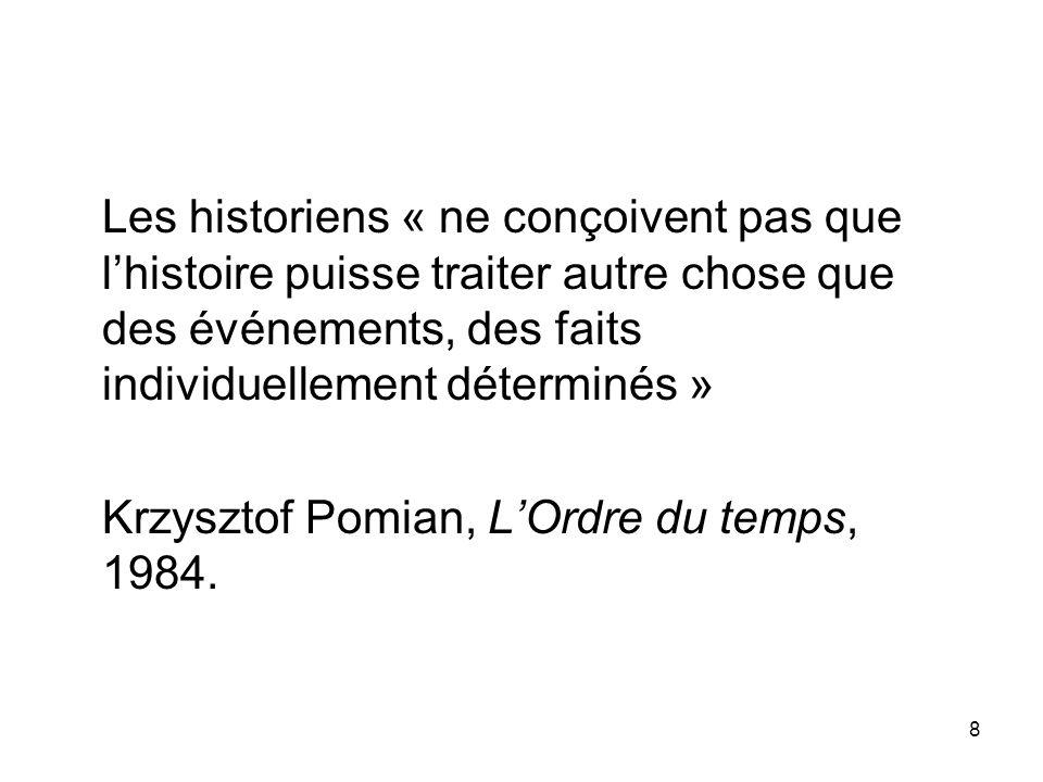 8 Les historiens « ne conçoivent pas que lhistoire puisse traiter autre chose que des événements, des faits individuellement déterminés » Krzysztof Po