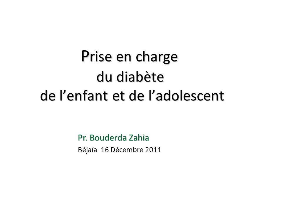 P rise en charge du diabète de lenfant et de ladolescent P rise en charge du diabète de lenfant et de ladolescent Pr. Bouderda Zahia Béjaïa 16 Décembr