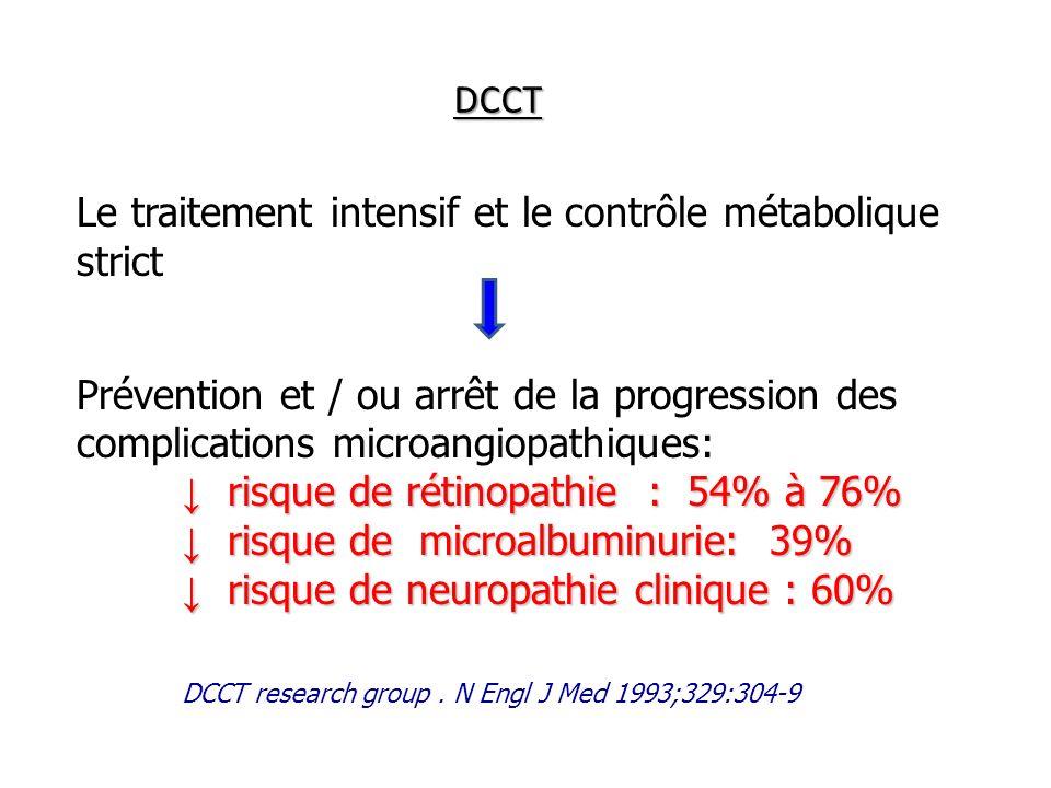 DCCT Le traitement intensif et le contrôle métabolique strict Prévention et / ou arrêt de la progression des complications microangiopathiques: risque
