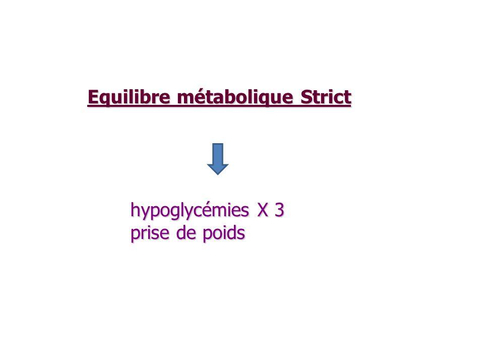 Equilibre métabolique Strict Equilibre métabolique Strict hypoglycémies X 3 prise de poids