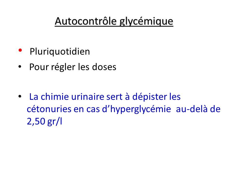 Autocontrôle glycémique Pluriquotidien Pour régler les doses La chimie urinaire sert à dépister les cétonuries en cas dhyperglycémie au-delà de 2,50 g