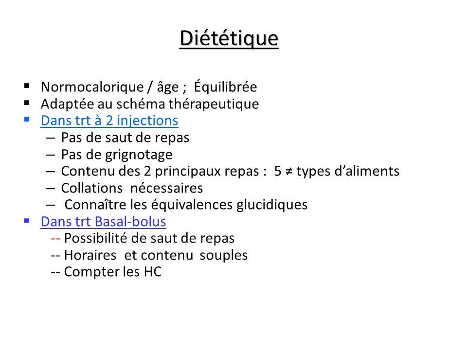 Diététique Normocalorique / âge ; Équilibrée Adaptée au schéma thérapeutique Dans trt à 2 injections – Pas de saut de repas – Pas de grignotage – Cont