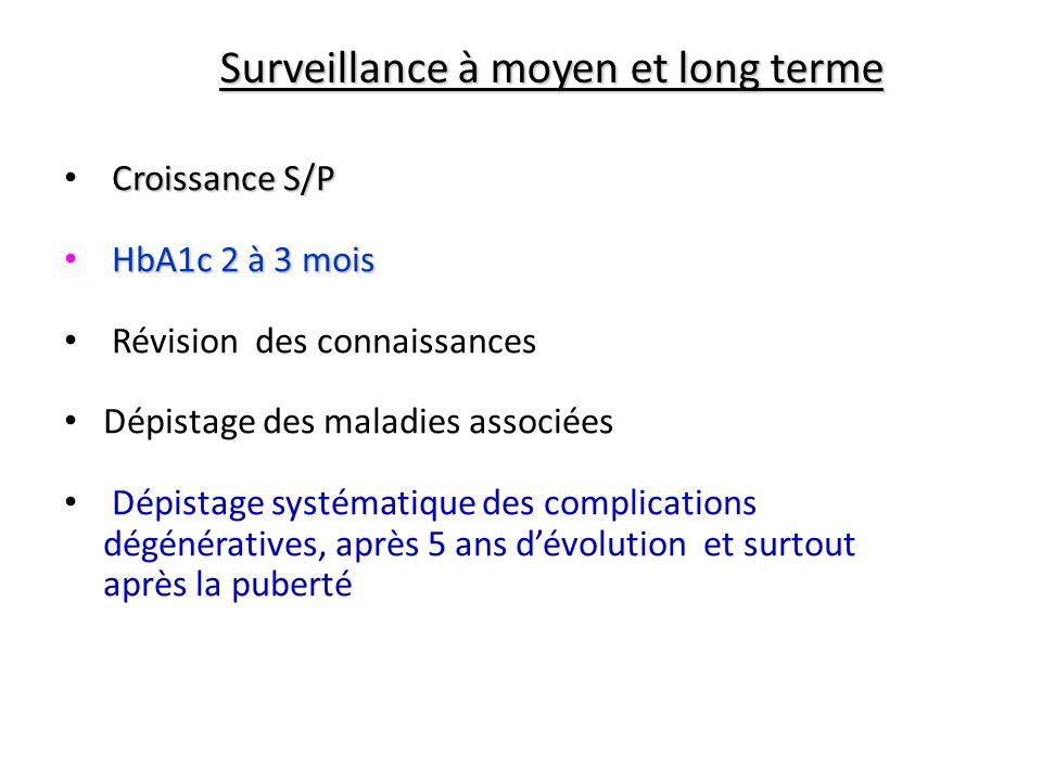Surveillance à moyen et long terme Croissance S/P HbA1c 2 à 3 mois Révision des connaissances Dépistage des maladies associées Dépistage systématique