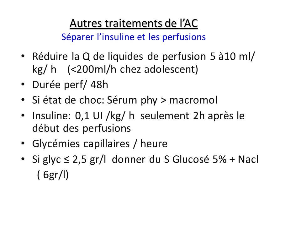 Autres traitements de lAC Autres traitements de lAC Séparer linsuline et les perfusions Réduire la Q de liquides de perfusion 5 à10 ml/ kg/ h (<200ml/