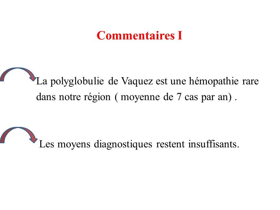 Commentaires I La polyglobulie de Vaquez est une hémopathie rare dans notre région ( moyenne de 7 cas par an). Les moyens diagnostiques restent insuff
