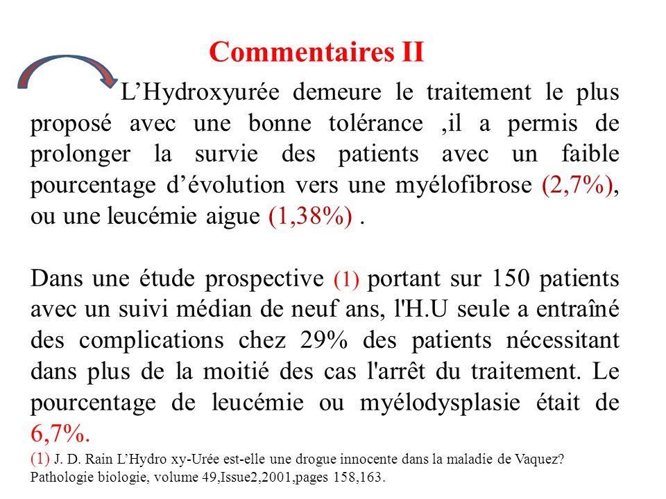 LHydroxyurée demeure le traitement le plus proposé avec une bonne tolérance,il a permis de prolonger la survie des patients avec un faible pourcentage