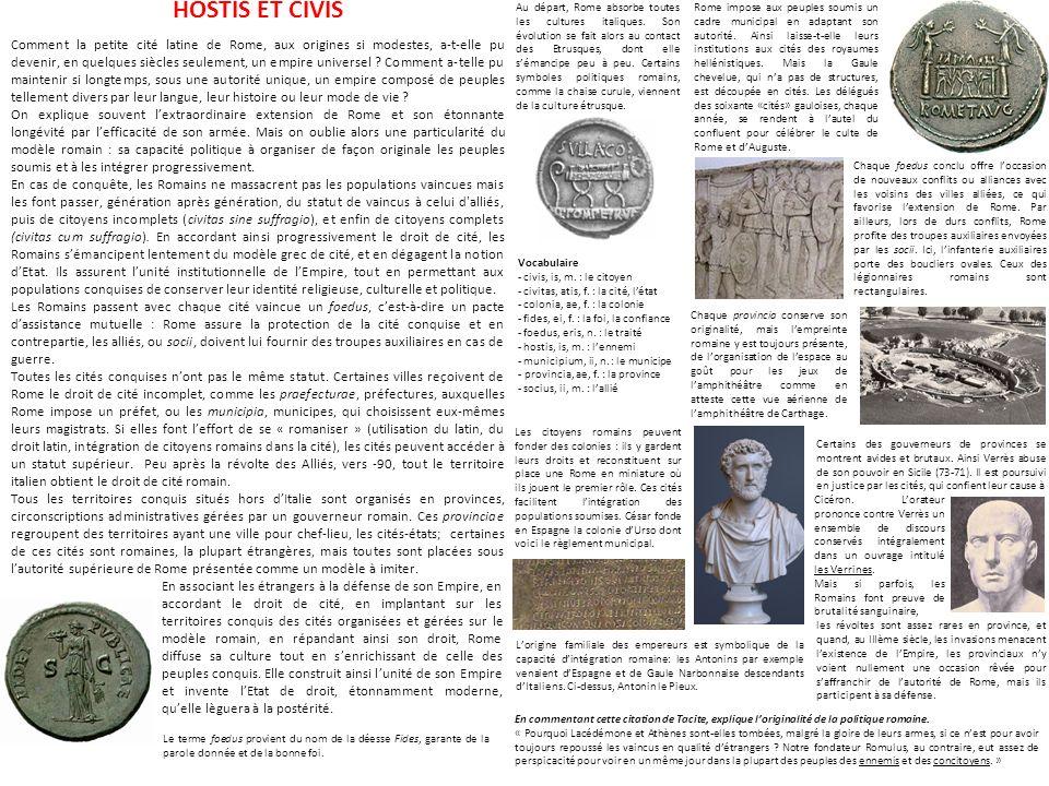 HOSTIS ET CIVIS Comment la petite cité latine de Rome, aux origines si modestes, a-t-elle pu devenir, en quelques siècles seulement, un empire univers