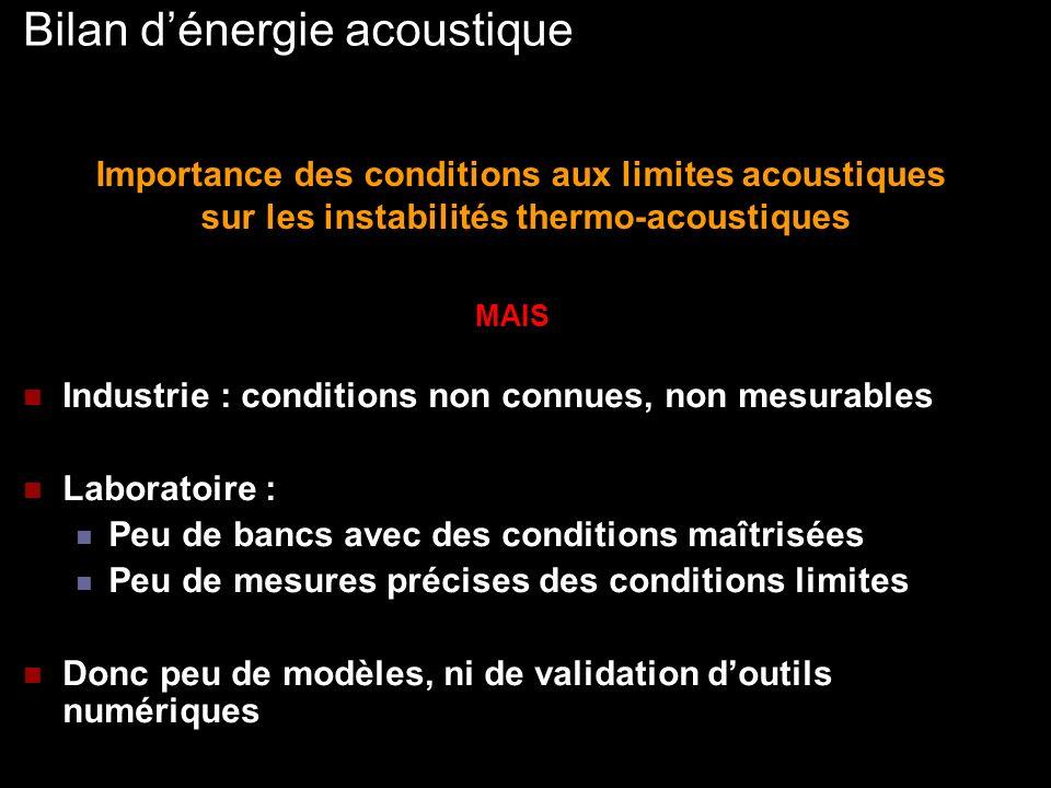 Objectifs du projet Développement dun système de contrôle des conditions aux limites acoustiques : Passif Prédictible Efficace Instrumentation acoustique dun banc : Mesure de spectres et de flux acoustiques Mesure du coefficient de réflexion Étude de leffet de la condition amont sur les instabilités auto-entretenues