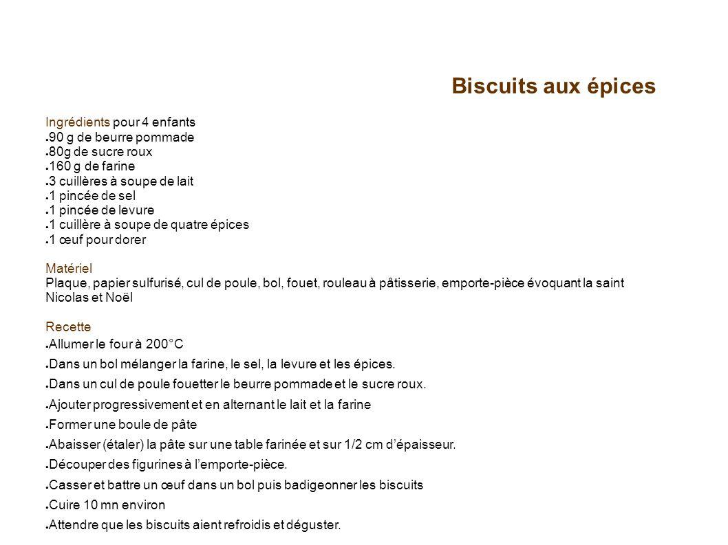 Biscuits aux épices Ingrédients pour 4 enfants 90 g de beurre pommade 80g de sucre roux 160 g de farine 3 cuillères à soupe de lait 1 pincée de sel 1