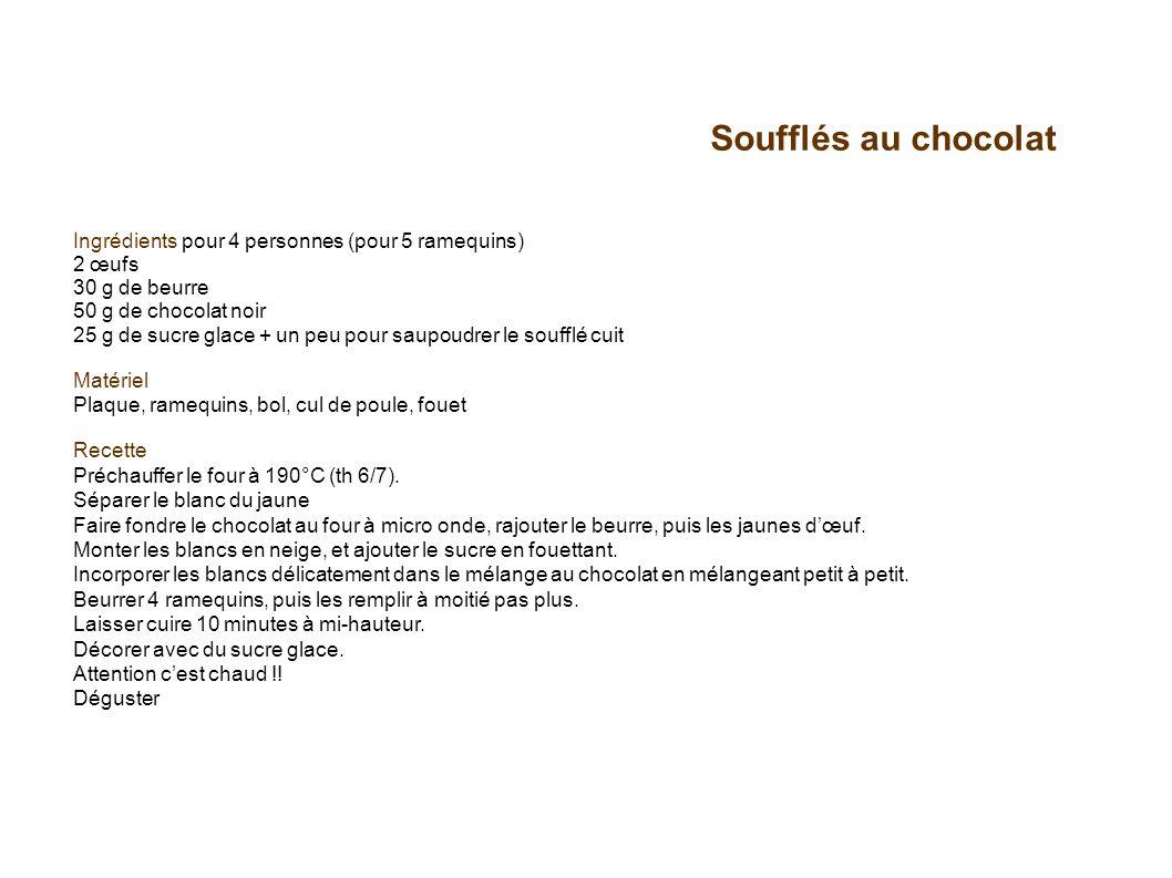 Soufflés au chocolat Ingrédients pour 4 personnes (pour 5 ramequins) 2 œufs 30 g de beurre 50 g de chocolat noir 25 g de sucre glace + un peu pour sau