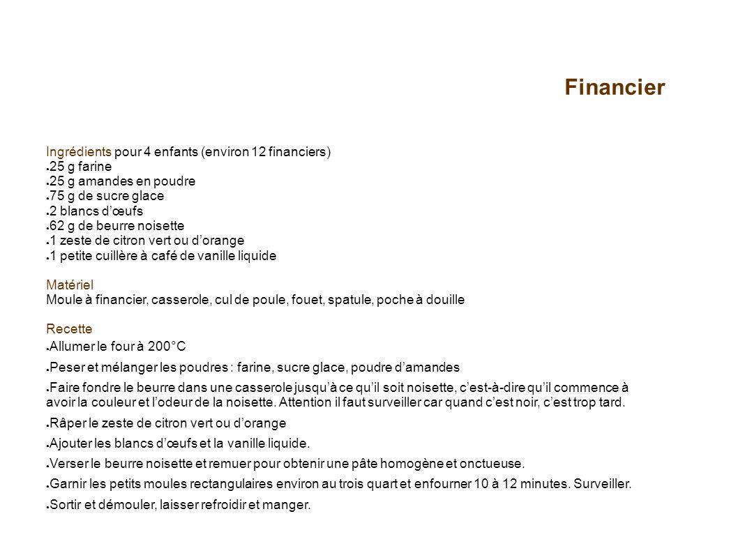 Financier Ingrédients pour 4 enfants (environ 12 financiers) 25 g farine 25 g amandes en poudre 75 g de sucre glace 2 blancs dœufs 62 g de beurre nois