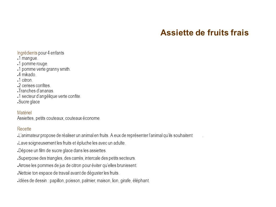 Assiette de fruits frais Ingrédients pour 4 enfants 1 mangue. 1 pomme rouge. 1 pomme verte granny smith. 4 mikado. 1 citron. 2 cerises confites. Tranc