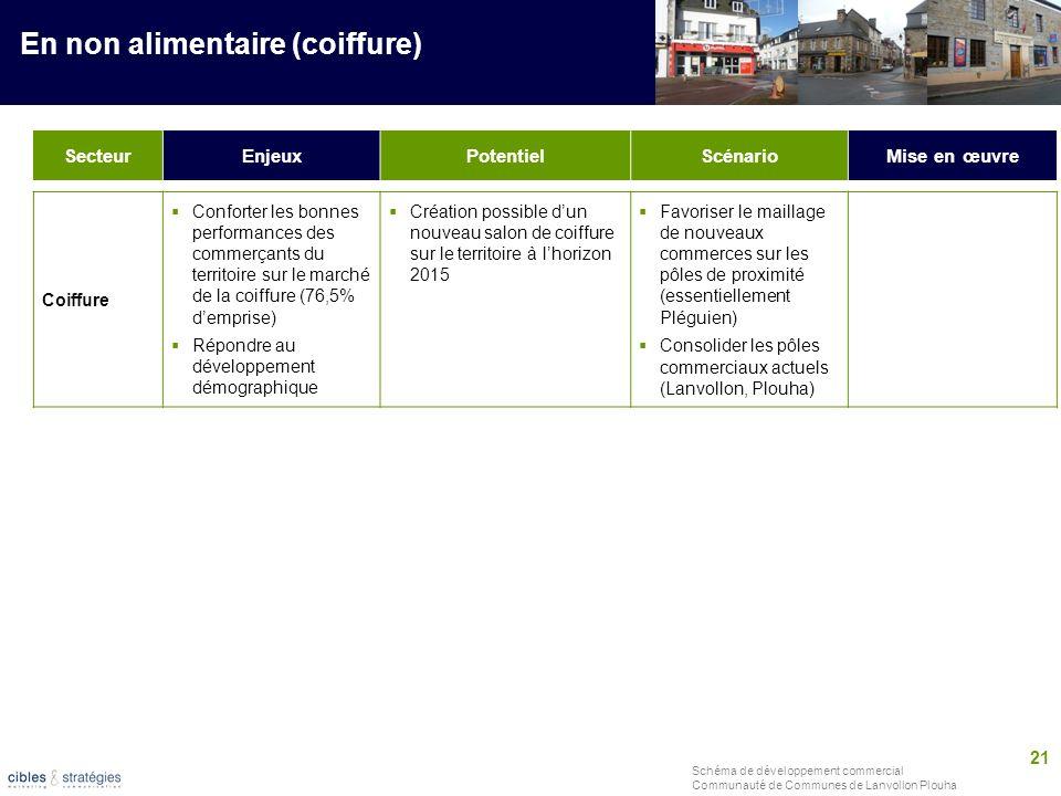 21 Schéma de développement commercial Communauté de Communes de Lanvollon Plouha SecteurEnjeuxPotentielScénarioMise en œuvre En non alimentaire (coiff