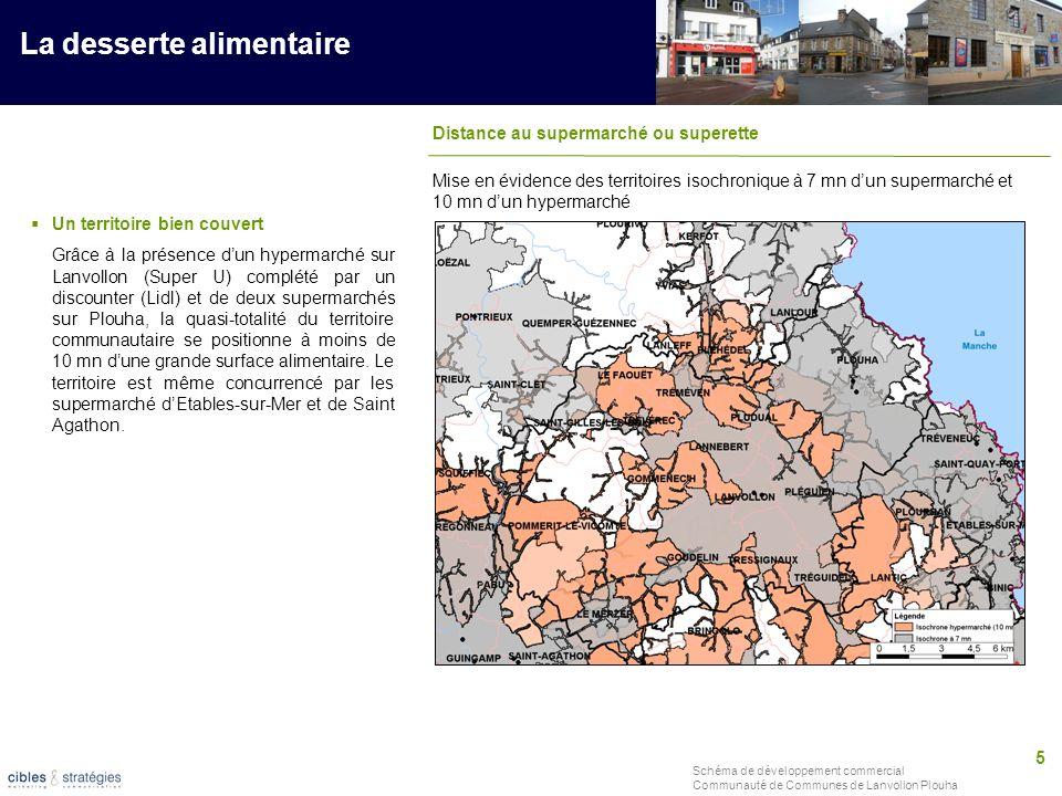 5 Schéma de développement commercial Communauté de Communes de Lanvollon Plouha La desserte alimentaire Distance au supermarché ou superette Un territ
