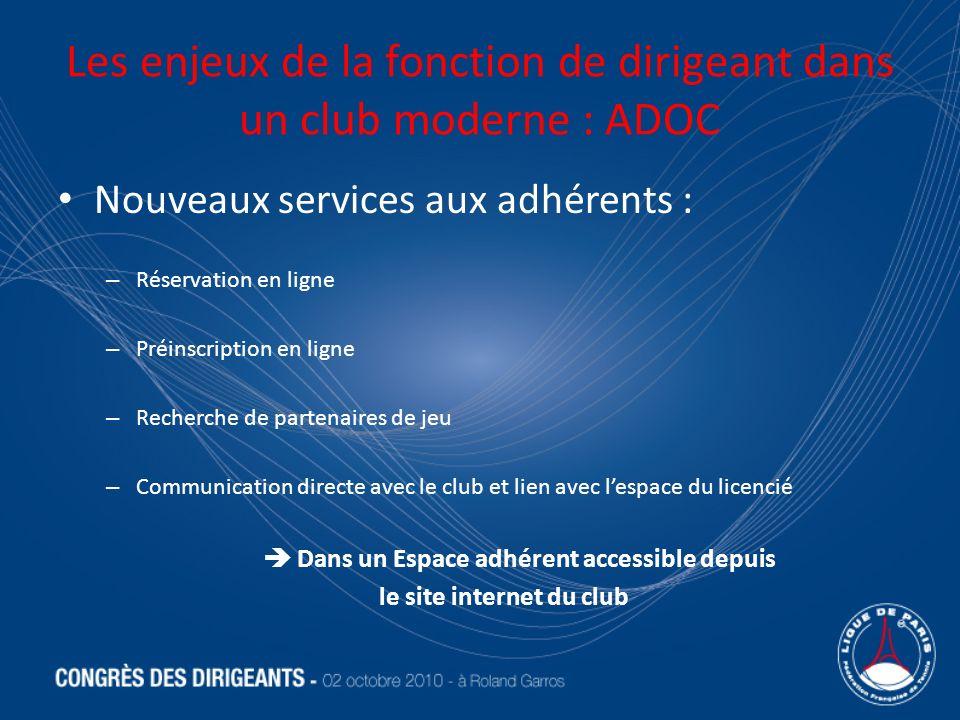 Les enjeux de la fonction de dirigeant dans un club moderne : ADOC Nouveaux services aux adhérents : – Réservation en ligne – Préinscription en ligne