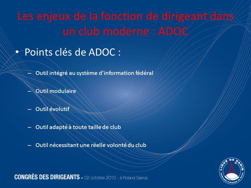 Les enjeux de la fonction de dirigeant dans un club moderne : ADOC Points clés de ADOC : – Outil intégré au système dinformation fédéral – Outil modulaire – Outil évolutif – Outil adapté à toute taille de club – Outil nécessitant une réelle volonté du club
