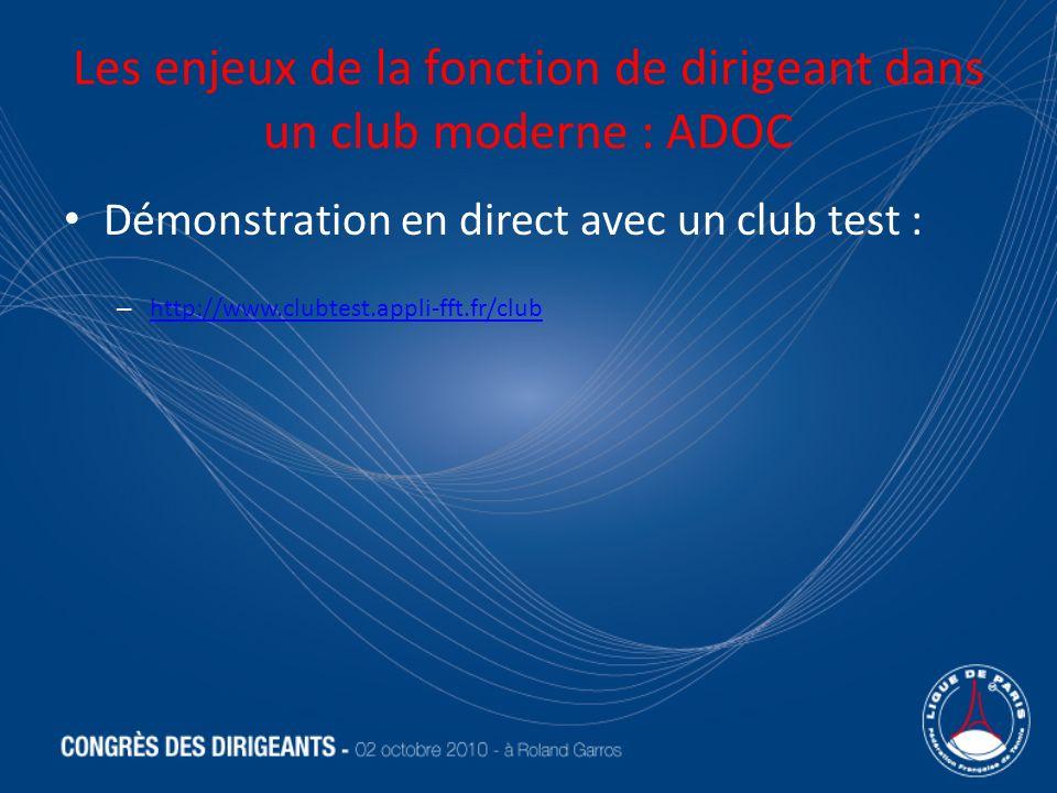 Les enjeux de la fonction de dirigeant dans un club moderne : ADOC Démonstration en direct avec un club test : – http://www.clubtest.appli-fft.fr/club